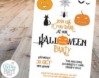Halloween Pumpkins Party Printable Invitation, 5x7in - Orange, Black and White - Instant Download - Halloween Parties