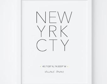 New York Print, New York Poster, Wall Art, NYC City Poster, NYC Print, New York City Print, New York Printable, Scandinavian, Typography art