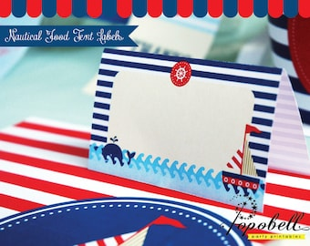 Nautical Food Tent Labels for Nautical Birthday Party. DIY Nautical Food Labels Printable with EDITABLE TEXT. In 2 designs. Instant Download