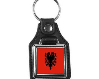 leather and silver plated metal keyring, square design ,country flag  albania ,  professional new keychain key ring