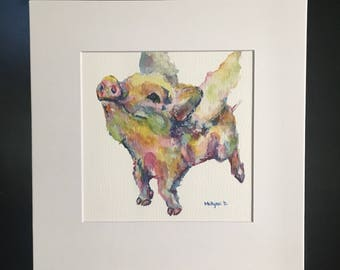 Flying Pig Print Matted or Print Only