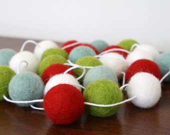 Playful Christmas Felt Ball Garland, Holiday Pom Pom Garland, Banner, Party Decor, Red, Green, White and Turquiose