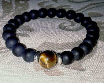 Buddha Matte Black Onyx With Tiger Eye Man Bracelet (Mala)
