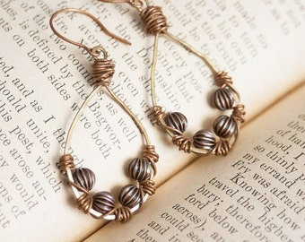 Mixed Metal Earrings Antiqued Brass and Copper Earrings Wire Wrapped Earring Copper Beads Hand Forged Earrings Artisan Jewelry Bohemian