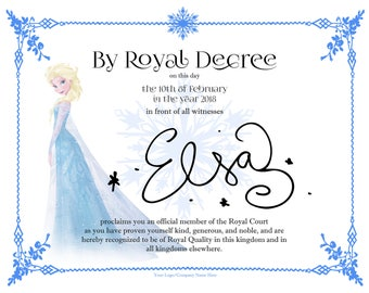 CUSTOMIZABLE Elsa Frozen Coronation Birthday Certificate INSTANT DOWNLOAD with tutorial