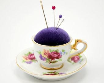 Pincushion 'Peony' porcelain cup and saucer