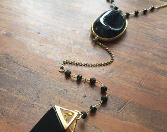 Black Druzy Agate Onyx Pendulum Y Lariat Necklace