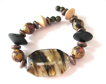 Group of beads, 23 beads, Fire Quartz, Birds Eye Rhyolite, wood, copper, Jewelry supply B-7089
