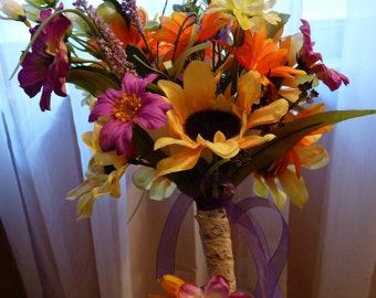 Vibrant wildflower bouquet with FREE matching boutonniere