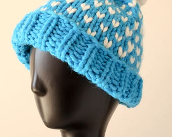 Chunky Knit Hat with PomPom
