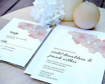 Violet Watercolor Flowers Wedding Invitation Suite - Digital PDF