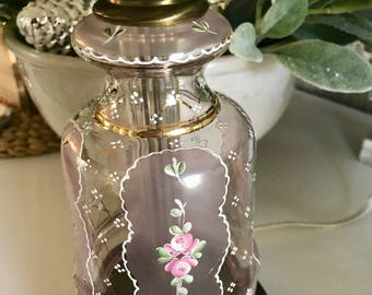 AWCO Charleton Pink Mist Roses Victorian Hand Painted Electric Lamp w/ Harp Finial Berger Swivel Harp Gold Trim Cottage Shabby TYCAALAK