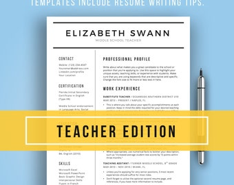 Teacher Resume Template For Word | Free Cover Letter + Writing Tips,  Teacher Resume,