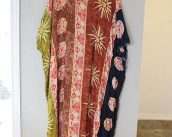 vintage tribal print tunic caftan dress *