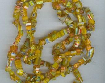 Yellow Glass Chips, Yellow Red Millefiori Flower Chip Glass Beads 32 Inch Bead Strand 510