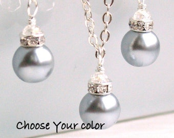 Silver Gray Bridesmaid Gift Jewelry Set Of Light Grey Necklace And Earrings Bridesmaid Gift Jewelry Silver Grey necklace and earrings