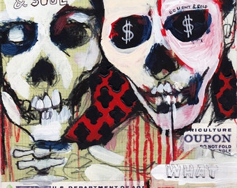 Dollar Signs, mixed media drawing by Juliana Coles