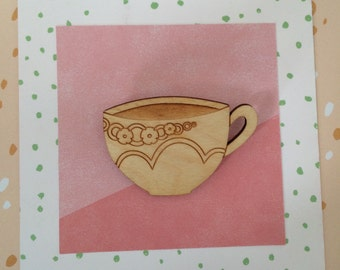 Wooden Teacup Brooch