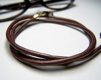 Bronze Leather Eyeglass Chain, 3mm Eyeglass Cord, Eyeglass Necklace, Custom Length 24-36 Inches, Chain for Glasses,