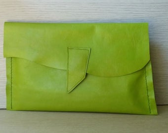 Lime Leather Clutch, Lime Green Leather Clutch Bag, Neon Green Leather Clutch, Neon Color Leather Purse,Striking Bright Green Leather Clutch