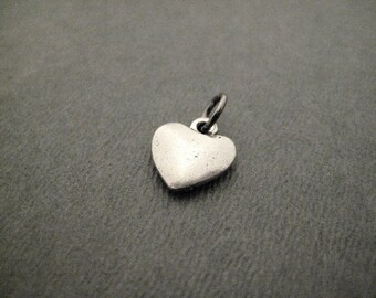 Pewter Puffed HEART Charm - ONE (1) Pewter Heart Charm - 1/2 inch Pewter Heart Charm with gunmetal jump ring - Heart Charm - Made in America