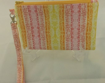 Yellow and Pink Striped Wristlet