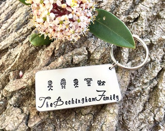 Family Keyring, Personalised Keyring, Hand Stamped Keyring, Our Family Keyring