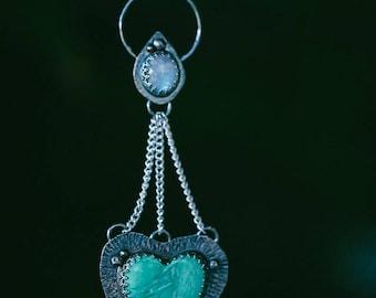 Moonstone & Australian Variscite statement necklace