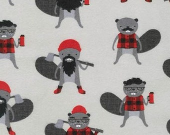 One (1) Yard - Burly Beavers FLANNEL Lumberjack print Robert Kaufman Fabric AHEF-15992-295 IRON