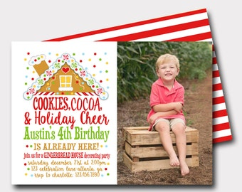 Gingerbread Cookie | Cookies and Cocoa | Christmas Birthday Invitation | Winter Birthday Invitation | Cookie Exchange | Cookie Decorating