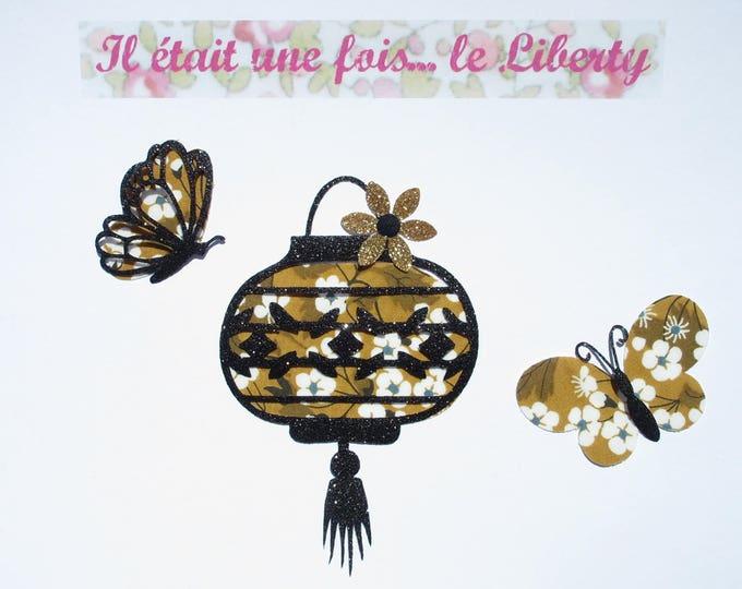 Appliqué thermocollant lanterne et papillons en liberty Mitsi moutarde & flex pailleté noir