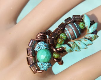 Turquoise and Copper Statement Ring - Adjustable - Copper Wire - Green Turquoise - Turquoise & Green Seed Beads - Turquoise Patina Accents