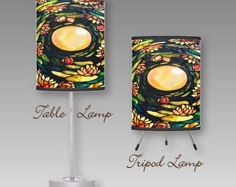 Table Lamp with Shade (2 styles), or Lamp Shade Only ~ Design Based on image of Colorful Stained Glass Lampshade of Tiffany-Style Chandelier