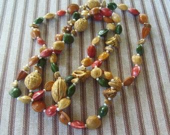 Colourful Vintage Nut Necklace