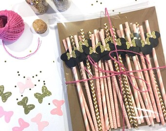 Minnie Mouse Inspired Straws/ Pink and Gold/ Minnie Mouse Pink and Gold Party Decorations / Paper Straw/ Table Decorations/ Glitter