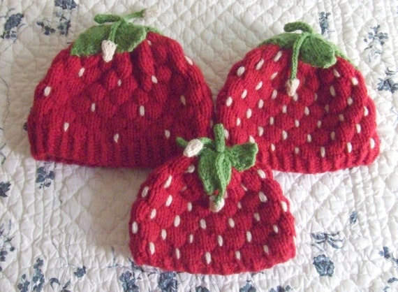 Knitting Pattern–Strawberry Hats, knit strawberry small child medium ...