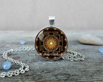 Sri yantra mandala necklace sacred geometry pendant sri sri yantra mandala pendant sacred geometry necklace sri yantra pendant buddhist mandala jewelry yoga jewelry gift cs252 aloadofball Image collections
