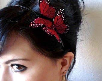 red butterfly headband - bohemian hair accessory - woodland hair piece - bridal hair accessory - whimsical headband - butterflies- ROSIE