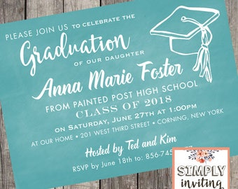 Graduation Invitations, Printed Cards, High School Graduation, College Graduation Party, Class of 2018, Chalkboard Graduation Invites