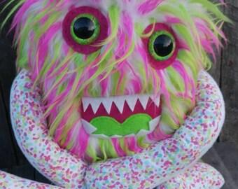 Stuffed monster, Stuffed animal, handmade monster, stuffed critter, plushie, plush monster, large plush animal, stuffed one eyed plush