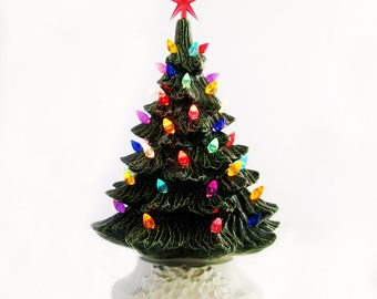 Cheer for the Holiday 11 1/2 Inch Green Ceramic Christmas Tree with White Base Color Lights with Star Electrical Fixture Made To Order