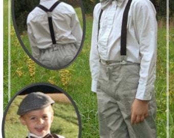 Young Gents Set Size 1-16 - Ellie Inspired Boy bowtie driver cap suspenders newsboy hat PDF pattern