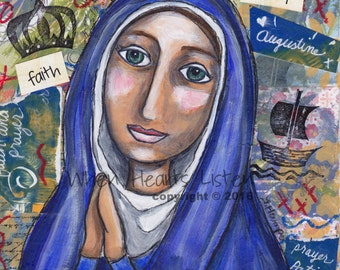 St. Monica, saint art, saint painting, patron of mothers, patron of marriages, confirmation gift