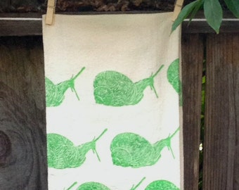 Snails on the Move  Flour Sack Tea Towel