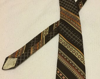 Vintage 1970s Brown Polyester Olga-Marina Collection Necktie