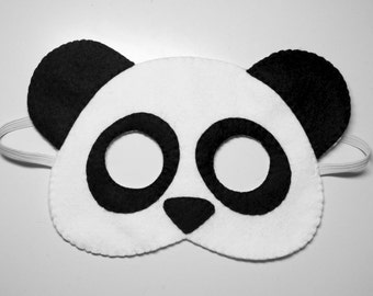 Panda bear felt mask - white black handmade woodland animal for kids adults - soft dress up play accessory photo props Theatre roleplay