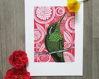 Hummingbird linocut print - Hummingbird linoprint - fathers day gift - teacher gift - Signed Open Edition - Free Postage - Kat Lendacka