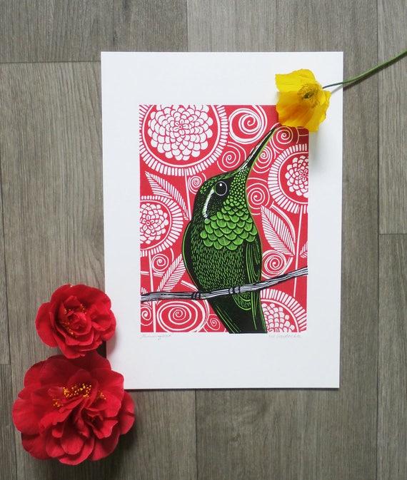 linocut print - Hummingbird linocut print - gift for her - gift for him - multi color linocut - Open Edition - Free Postage - Kat Lendacka