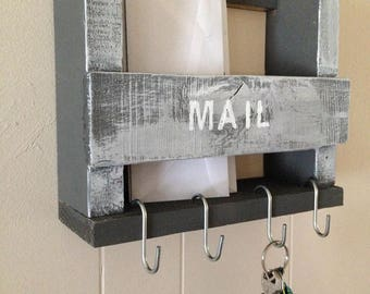 Reclaimed wood mail organizer and key holder, Rustic entryway storage, farmhouse