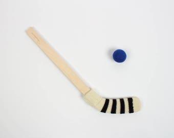Mini Hockey Stick - black and cream